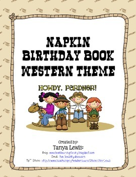 Western Theme Napkin Birthday Book