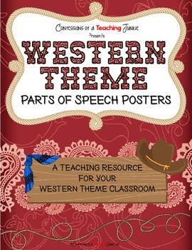 Western Theme Parts of Speech Posters Set