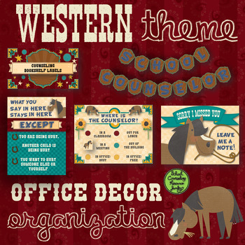 Western Theme School Counseling Office Decor & Organization Pack