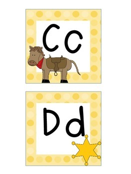 Word Wall Letters and Alphabet Heading Western Theme