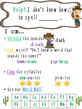 Western Theme Writing_ Spelling Poster