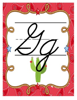 Western Themed Alphabet Posters (Cursive)