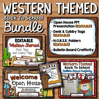 Western-Themed Back To School BUNDLE --- Presentation, Tags, Folders, Craftivity