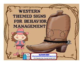 Western Themed Behavior Management Signs