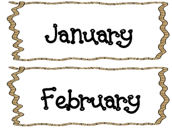 Western Themed Calendar Headings and Date Cards