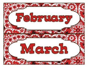 Western-Themed Calendar Months