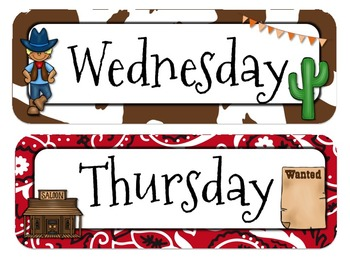 Western Themed Calender Headers l Months and Days of the Week