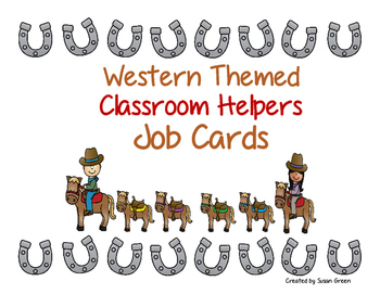 Western Themed Classroom Helpers; Job Cards