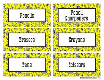 Western Themed Classroom Supply Labels