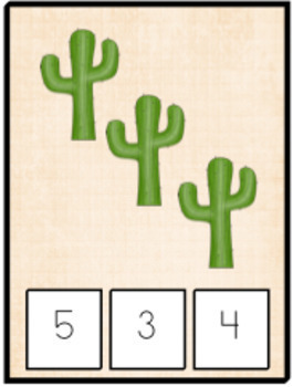 Western Themed Clothes Pin Number Game- Kindergarten Roundup - Distance Learning