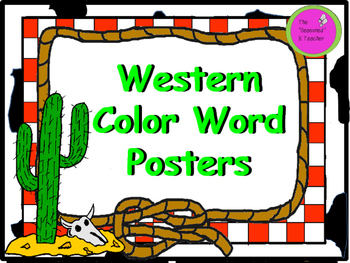 Western Themed Color Word Posters