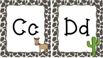 Western Themed Cow Print Alphabet