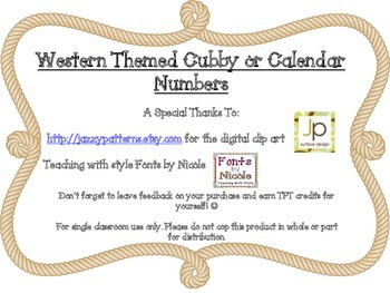 Cubby/Calendar Numbers: Western Themed