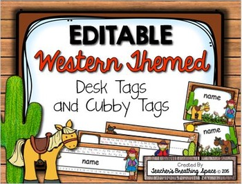 Western Themed Desk Tags and Cubby Tags --- EDITABLE Cowboy Desk Tags
