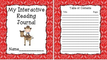 Western Themed Interactive Journal Covers with Matching Tables of Contents