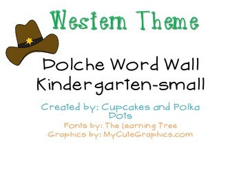 Western Themed Kindergarten Dolche Word Wall Words- Small