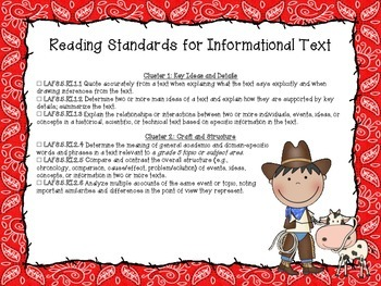 Western Themed Language Arts Florida Standards Checklist for Fifth Grade