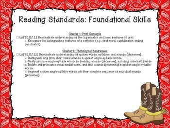 Western Themed Language Arts Florida Standards Checklist for First Grade
