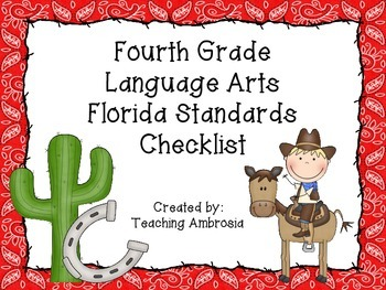 Western Themed Language Arts Florida Standards Checklist for Fourth Grade