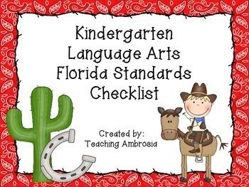 Western Themed Language Arts Florida Standards Checklist for Kindergarten