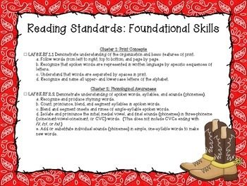 Western Themed Language Arts Florida Standards Checklist for Kindergarten
