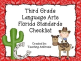 Western Themed Language Arts Florida Standards Checklist for Third Grade