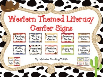 Western Themed Literacy Center Signs