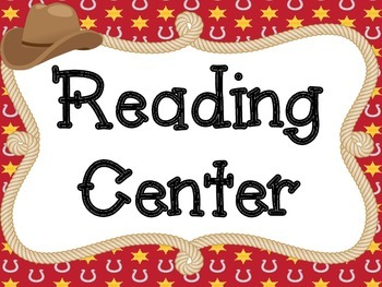 Literacy Center Signs: Western Themed