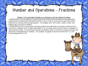 Western Themed Mathematics Florida Standards Checklist for Fifth Grade