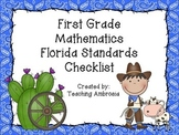 Western Themed Mathematics Florida Standards Checklist for First Grade