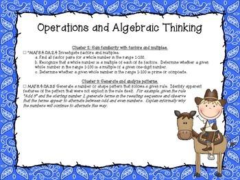 Western Themed Mathematics Florida Standards Checklist for Fourth Grade