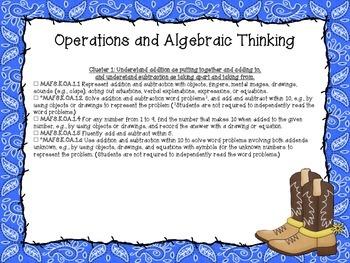 Western Themed Mathematics Florida Standards Checklist for Kindergarten
