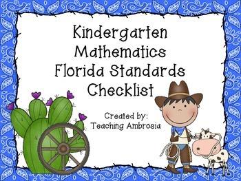 Western Themed Mathematics Florida Standards Checklist for