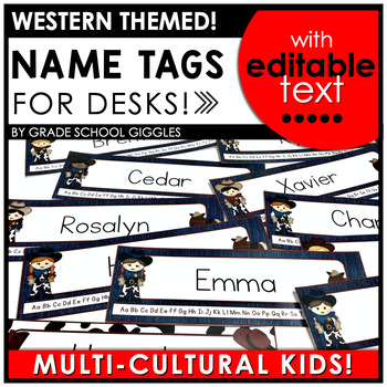 Western Themed Name Tags for Desks