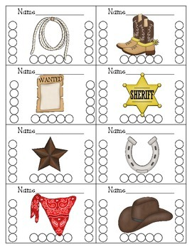Western Themed Punch Cards