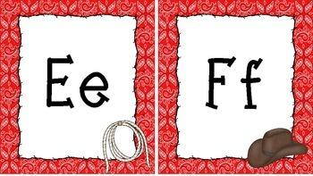 Western Themed Red Bandana Print Alphabet