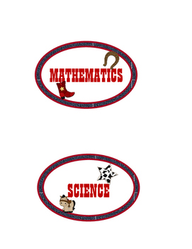 Western Themed Round Subject Labels