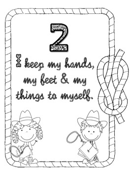 Western Themed Rules of the Wild West Black and White Coloring Pages