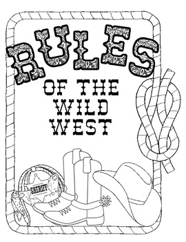 Western Themed Rules of the Wild West Sign B and W Print Set