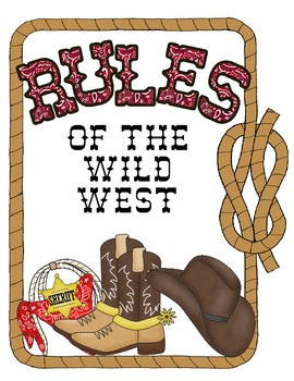 Western Themed Rules of the Wild West Sign Set
