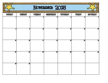 Western Themed School Calendar
