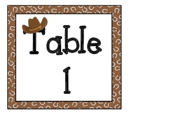 Table Signs: Western Themed