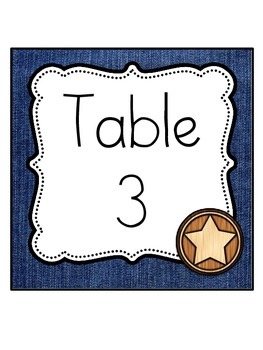 Western Themed Table Signs