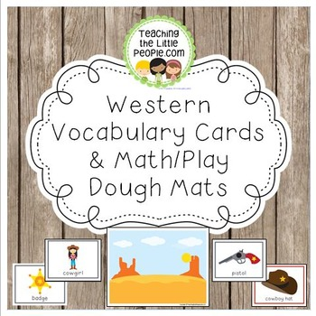 Western-Themed Vocabulary Cards and Math/Play Dough Mats
