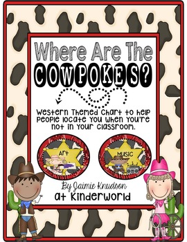 Western Themed WHERE ARE THE COWPOKES? Sign/Chart