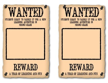 Western Themed Wanted Photo Cards