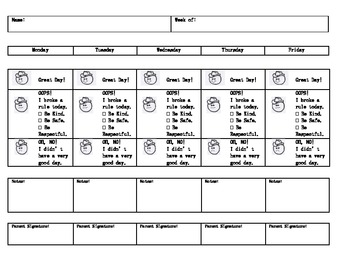 Western Themed Weekly Behavior Chart by Laura Burger | TpT
