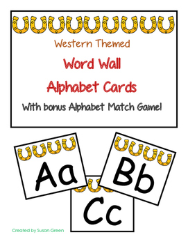 Western Themed Word Wall Alphabet Cards with Bonus Alphabe