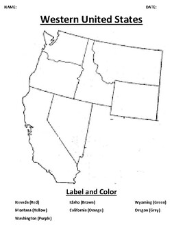 Western United States Mapping Worksheet with Word search on