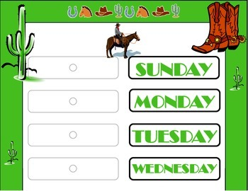 Western Weekday Chart! Wild West Theme! Wild Western Bulletin Board!
